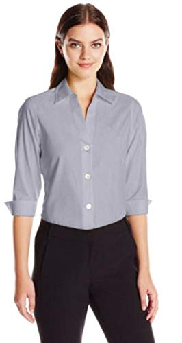 - Foxcroft NYC Womens Pinpoint Oxford Shirt Non-Iron Stretch Poplin Blouse (X-Small, Grey)