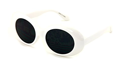 V.W.E. Vintage Sunglasses UV400 Bold Retro Oval Mod Thick Frame Sunglasses Clout Goggles with Round Lens (White, - Sunglasses V U
