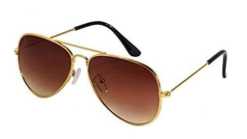 WODISON Classic Kids Aviator Sunglasses Reflective Metal Frame Children Eyeglass Gold Frame Brown Lens -