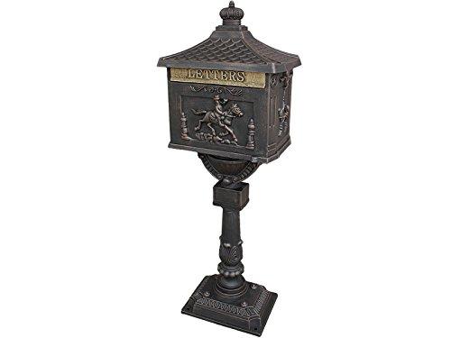 Giantex Heavy Duty Postal Box Security Aluminum Post/Pedestal Cast Mailbox Bronze