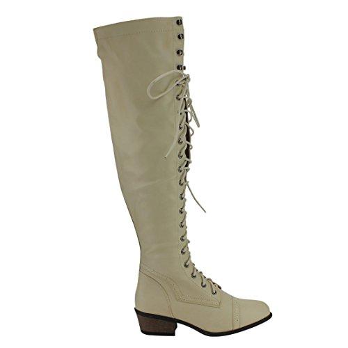 Beston DE11 Damen Schnürschuh Block Heel Side Zip Overknee High Combat Boots Beige