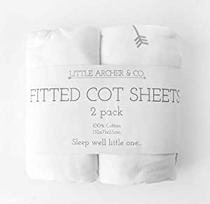 Little Archer & Co.™ 2 Pack 100% Cotton Fitted Cot Sheets, Soft and Breathable, Universal Size of 132cmx72cmx23cm (Arrow)