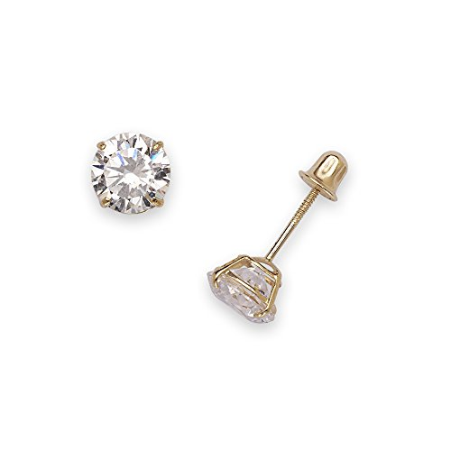 (14k Yellow Gold Solitaire Round Cubic Zirconia CZ Stud Screw-back Earrings (2mm-7mm) (6mm-yellow-gold))