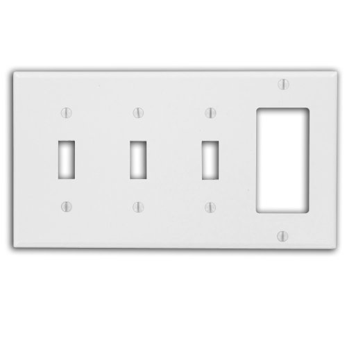 Leviton P326-W 4-Gang 3-Toggle 1-Decora/GFCI Device Combination Wallplate, - Outlet Covers And Switchplates