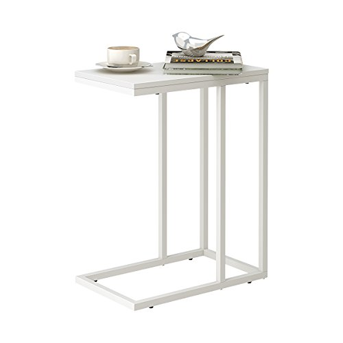WLIVE Snack Side Table, C Shaped End Table for Sofa Couch and Bed, White (Glass Table White Side)