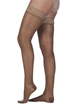 Juzo Naturally Sheer Compression Thigh High w/ Silicone Top Band Closed Toe 15-20mmHg, III, Vanilla