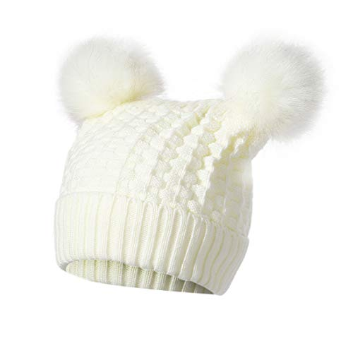 Mirage Moon Winter Faux Fur Pompom Hats, Soft Warm Ski Cap, Cable Knit Beanie for Adults and Children(White)