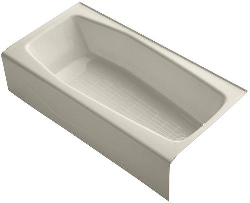 KOHLER K-716-47 Villager Bath with Right-Hand Drain, Almond
