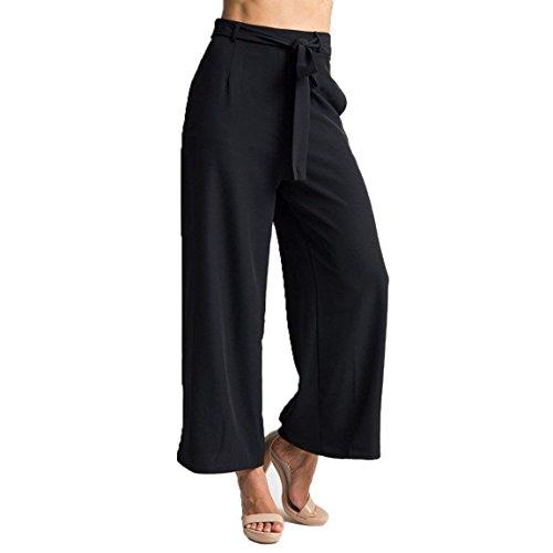 Pantaloni Larghi Nero Nero Damigella Baggy Lunga Donna Libero High Moda Palazzo Pants Trousers Waist Tempo Pantaloni RqwCX