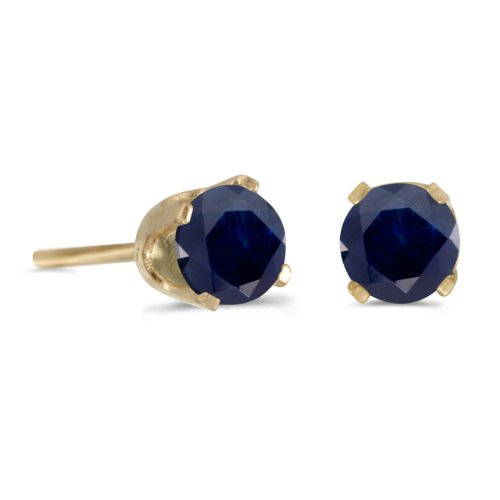 14k Yellow Gold 4 mm Round Sapphire Stud Earrings 4mm Sapphire Stud Earrings