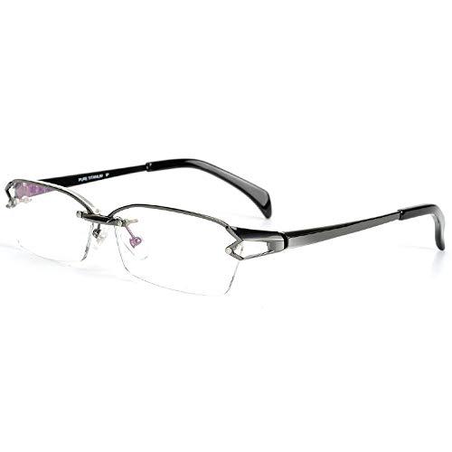 MICNL/Titanium Semi-rimless Eyeglasses Business Optical Geometric Frame Clear Lens (gun, plain)