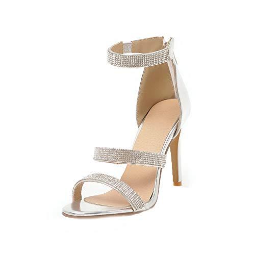 VogueZone009 Women Zipper Pu High-Heels Open-Toe Zipper Sandals,CCALP014607 Silver