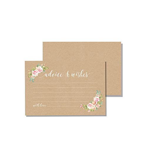 Kraft Rustic Floral Advice Cards & Well Wishes | Bridal Shower Games, Wedding Reception, Baby Shower, Graduation | 4×6 inches (50 Count) by CaliRustic