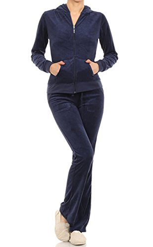 Velour Classic Hoodie Sweat Suit Jacket and Pant Set (Navy, 2X)