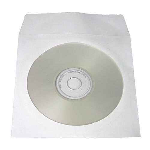 Paper Cd Sleeves (Yens CD DVD Paper Sleeves Envelopes with Flap & Clear Window, 100 Piece, White)