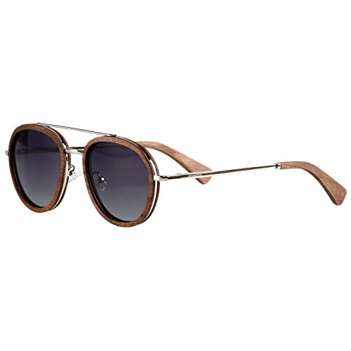 Wood Aviator Sunglasses for Men Women Vintage Wooden Shades Ebony Frame Walnut Oval Brown Green Black BLue ()