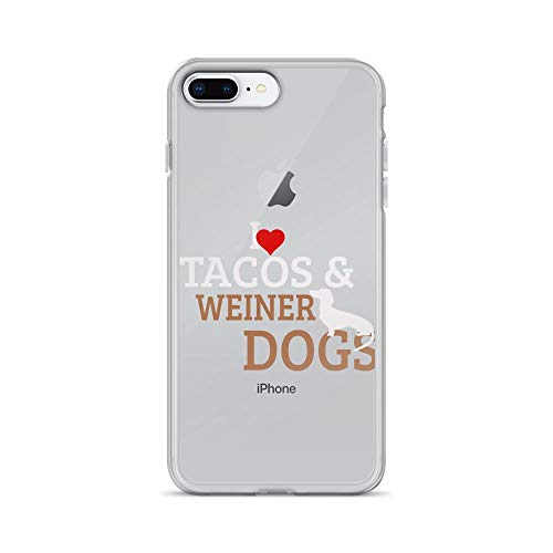 iPhone 7 Plus/8 Plus Pure Clear Case Cover I Love Tacos & Weiner Dogs for Taco & Dachshund Fans