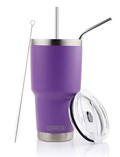 DYNAMIC SE 30oz Purple Tumbler Double Wall Stainless Steel Vacuum Insulated Travel Mug with Splash-Proof Lid Metal Straw and Brush (Purple, 30oz)
