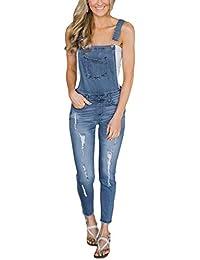 Women's Denim Ripped Skinny Jeans Bib Overalls Long Pants Jumpsuits