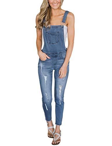 Luyeess Womens Denim Ripped Skinny Jeans Bib Overalls Long Pants Jumpsuits