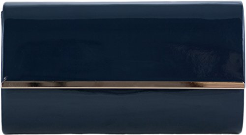 H&G Ladies Patent Glossy Fashion Clutch  Evening Bag (Flesh) Navy