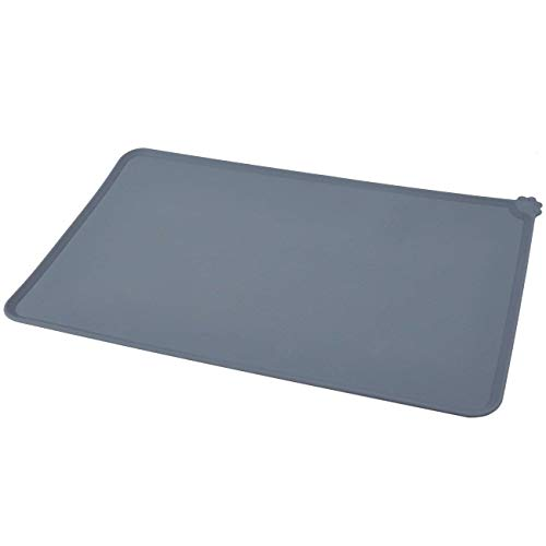Juvale Pet Food Tray - 2-Pack Silicone Pet Food Mat, Waterproof Pet Feeding Tray with Non-Slip Bottom and Raised Edges, Grey by Juvale (Image #6)