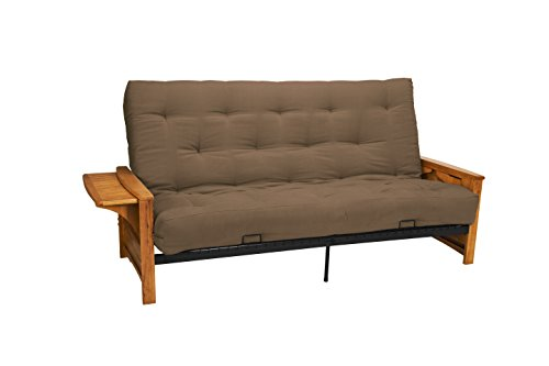 Valet Attached End Table Style True 8-inch Loft Cotton/Foam Futon Sofa Sleeper Bed, Full-size, Medium Oak Arm Finish, Microfiber Suede Mocha Brown Upholstery