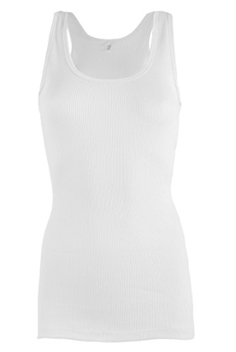 LAB301 Women's Basic Casual Cotton Jersey Tank Top Blouse In Different Styles 200_White - Tank Top Cotton Jersey