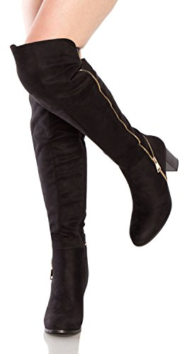 Sexy Halloween Boots (OLIVIA K Women's Closed Toe High-Heels Solid Boots with Ornament)