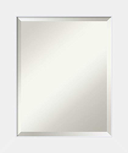 - Framed Vanity Mirror | Bathroom Mirrors for Wall | Corvino White Mirror Frame | Solid Wood Mirror | Small Mirror | 24.88 x 20.88