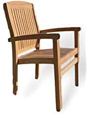 Marlborough - Solid Teak Fixed Stacking Garden Armchair