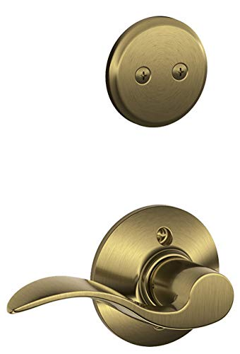 Schlage F94ACC609RH Antique Brass Accent Lever Right Handed Dummy Interior Pack from the -