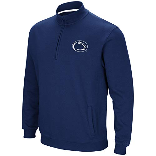 Colosseum NCAA Men's Tailgater Cotton-Poly Fleece 1/4 Zip Pullover-Penn State Nittany Lions-Navy-XXL