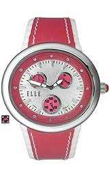ELLETIME Women's TW000J9200 Red Leather Calendar (Elle Womens Leather Watch)