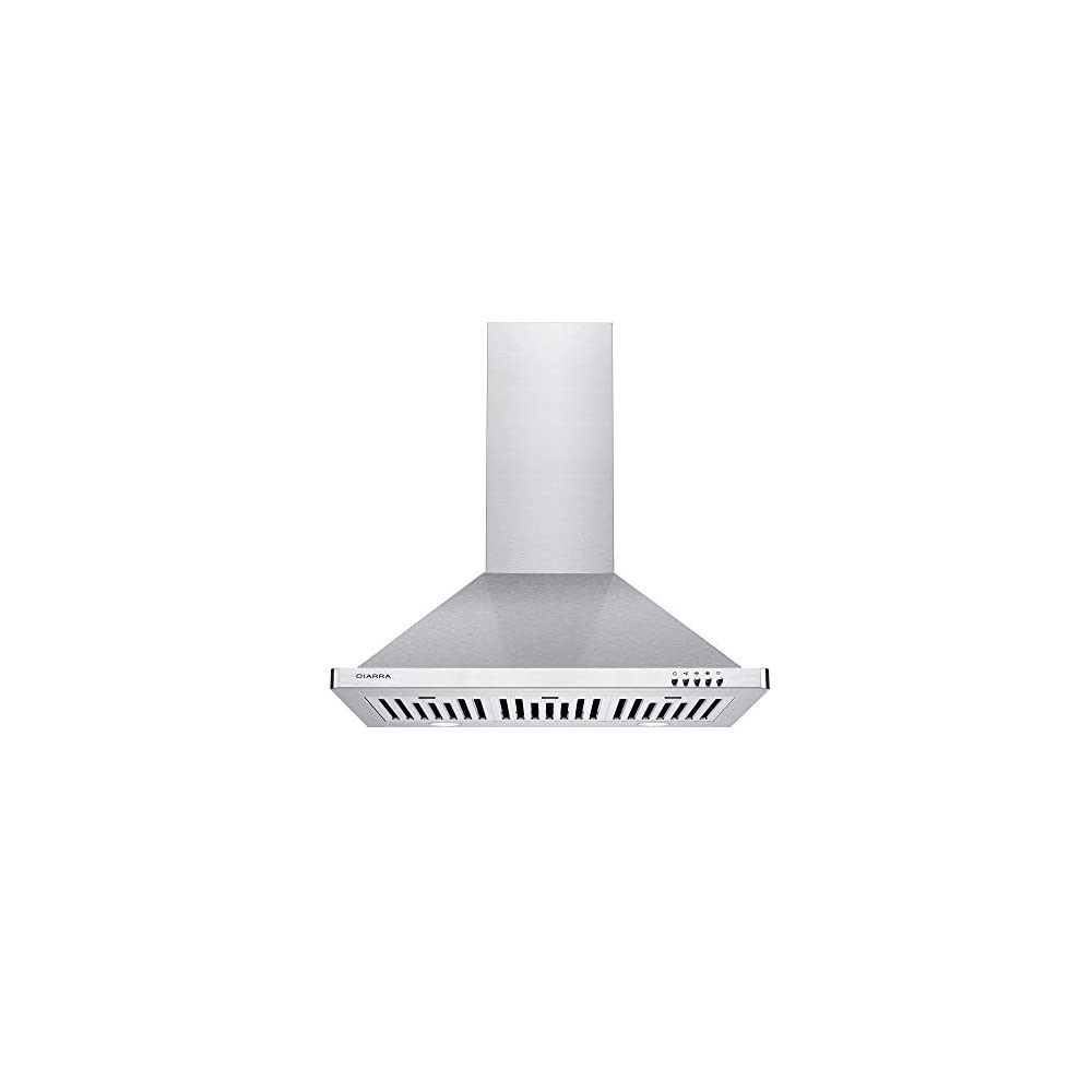 CIARRA CAS75302 Range Hood 30 inch, Stainless Steel Kitchen Vent Hood with 3 Speed Exhaust Fan, Wall Mounted Hood with…