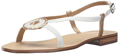 JACK ROGERS Women's Mollie Flat Sandal - White/Gold - 6 B...