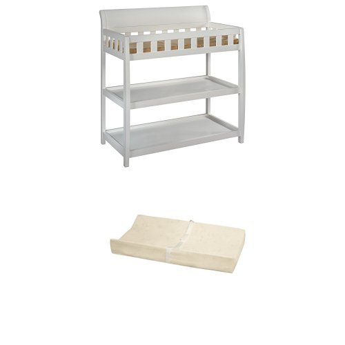 Delta Children Bentley Changing Table, White and Simmons Kids Beautysleep Naturally Contour Pad