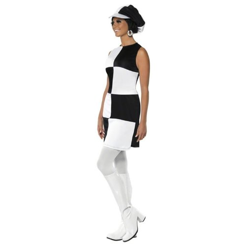 1960s Party Girl Adult Costume Black & White - Large