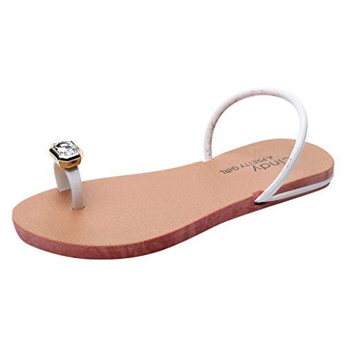 HYIRI Bohemia Crystal Flat Sandals,Summer Women's Ladies Beach Slippers Casual Shoes White