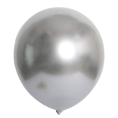 Binory 50pcs Chrome Shiny Metallic Latex Balloons for Birthday Wedding Pool Graduation Party Supplies,Safe Durable and Reusable Party Balloons,Enjoy Happy Time(Silver)