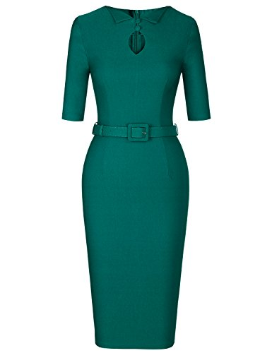 MUXXN Women's Rockabilly 1960's Keyhold Collar Stretchy Cotton Formal Party Dress (Drak Green M) ()