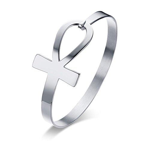 XUANPAI 2 Pcs Simple Womens Stainless Steel Egyptian Ankh Cross Sideway Bracelet Key of Life Cuff Bangle