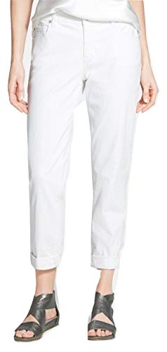 Eileen Fisher Women's Organic Cotton Stretch Denim Boyfriend Jeans, White, Petite 10 (10P) ()