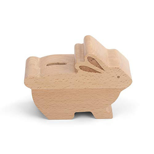 DEMDACO Whimsical Bunny Natural Brown 6 x 4 Laser Cut Beech Wood Toy Piggy Bank ()