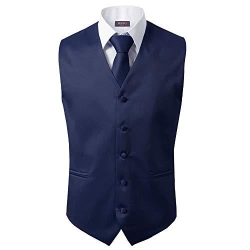 3 Pcs Vest + Tie + Hankie Men's Fashion Formal Dress Suit Slim Tuxedo Waistcoat Coat (X-Large, Navy) ()