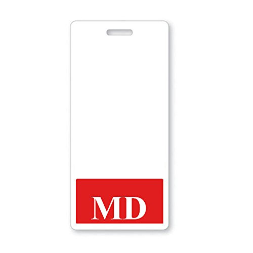 MD Vertical Badge Buddy with RED Border from Specialist ID, Sold Individually