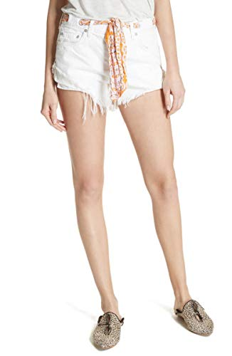 Free People Women's Cutoff Denim Shorts (Worn White, 24 2)