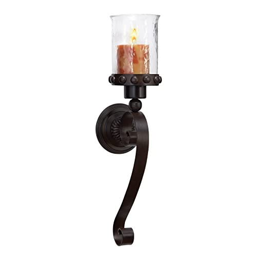 Deco 79 69590 Metal Glass Candle Sconce, 20 by 6-I big image