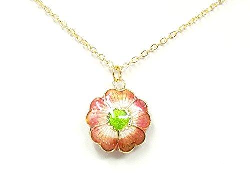 Vintage Cloisonne Pink Flower Necklace