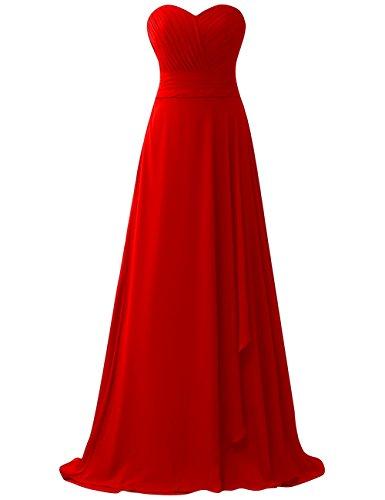 Lange Schnürung Falten Partykleider Chiffon Trägerlos Ballkleider Rückenfrei Rot Abendkleider Brautjungfernkleider Hochzeit qcdRpx1w8q